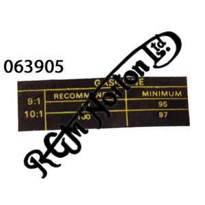 GASOLINE (PETROL SPECIFICATION) DECAL