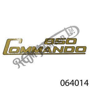 850 COMMANDO SIDE PANEL DECAL, GOLD WITH BLACK OUTLINE