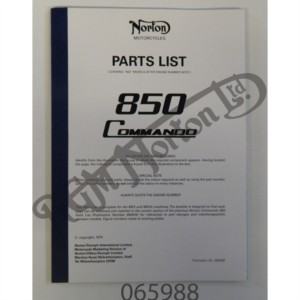 850 PARTS BOOK 1974 (NO DIAGRAMS PART NUMBERS) USE WITH 065034