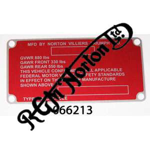 FRAME NAME PLATE ON HEADSTOCK FOR U.S MARKET, RED