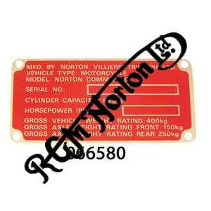 FRAME NAME PLATE ON HEADSTOCK FOR COMMANDO MK3 850, RED