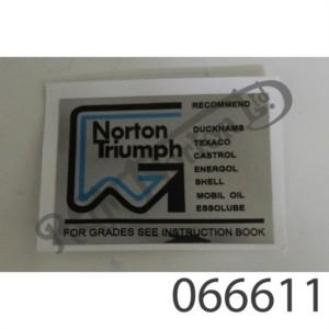 """""""NORTON-TRIUMPH OILS"""" DECAL"""