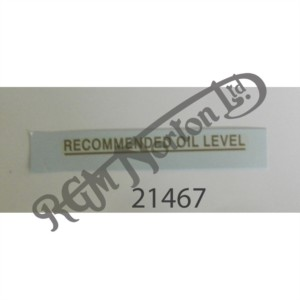 """OIL TANK DECAL """"RECOMMENDED OIL LEVEL"""", GOLD"""