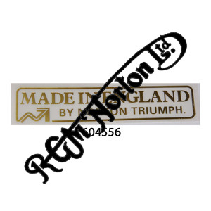 MADE IN ENGLAND BY NORTON TRIUMPH GOLD STICKER