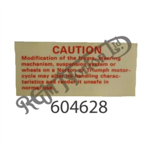 NORTON 'CAUTION' DECAL