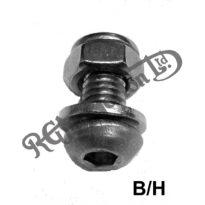 MUDGUARD 6MM BUTTON HEAD ALLEN SCREWS WITH LOCK NUT AND WASHERS X 12MM