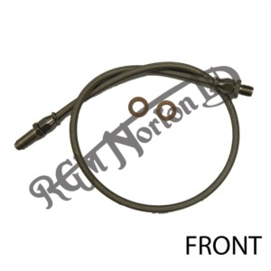 FRONT STAINLESS BRAIDED BRAKE HOSE COMPLETE WITH STAINLESS FITTINGS