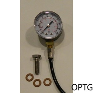OIL PRESSURE TEST GAUGE WITH PIPE & TAKE OFF FOR ROCKER OIL FEED