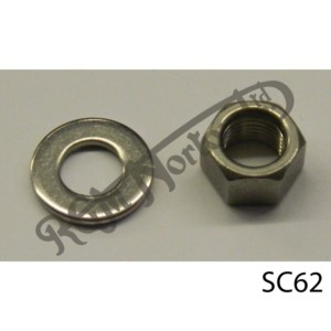 """DRUM BRAKE LEVER NUT AND WASHER (ON HUB) 3/8"""" UNF"""