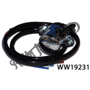 UNIVERSAL HORN BUTTON, DIP SWITCH, CHROME (CLAMP ON)