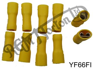 YELLOW FEMALE FULLY INSULATED SPADE CONNECTOR