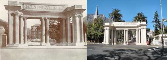 The entrance to the Mount Nelson Hotel, Then and now