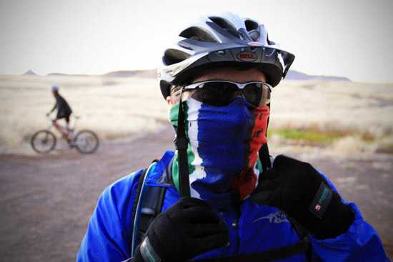 David Ryan all covered up - 2011 Damaraland Challenge4aCause Cycle