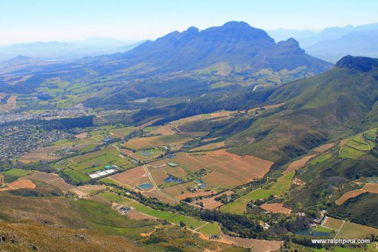Aerial view of Stellenbosch mountains and farms