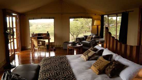 The tented bedrooms of the Serengeti Migration Camp