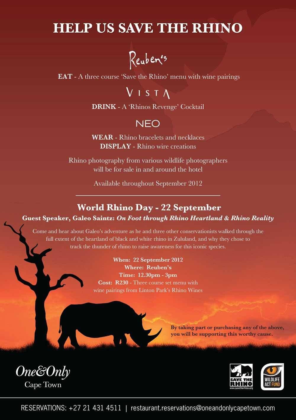 One Only Black: Support One&Only Cape Town's Save The Rhino Campaign