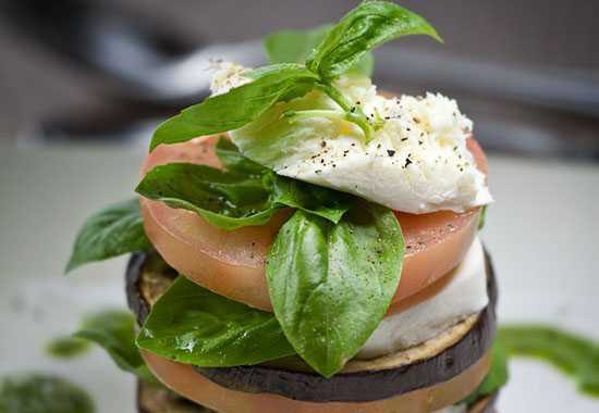 Caprese & aubergine stack with basil oil