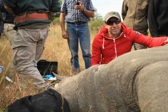 Our leader David Ryan learning about the critical work to save the rhinos on Phinda
