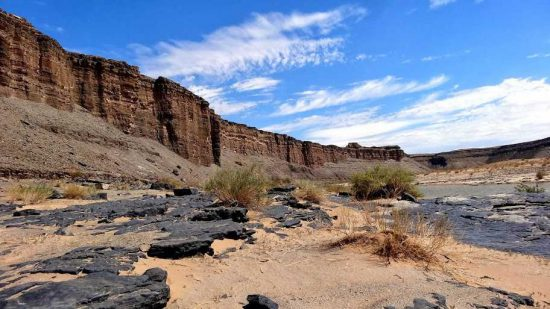 """""""The Fish River Canyon is 161 kilometres long, up to 27 kilometres wide and 550 metres deep. We did a 6.5 hour tour that took us into the canyon down 440m to the Fish River."""""""
