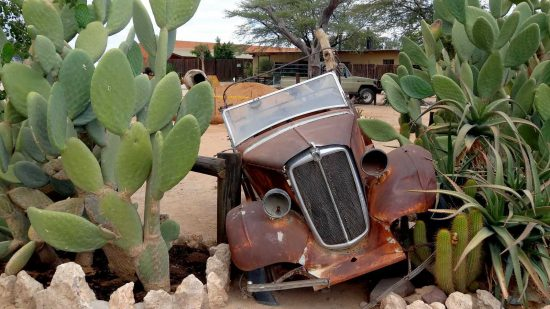 """""""One day we drove to the little town of Solitaire which reminded us of an Arizona USA desert town with old vehicles and cactus on the highlights."""""""