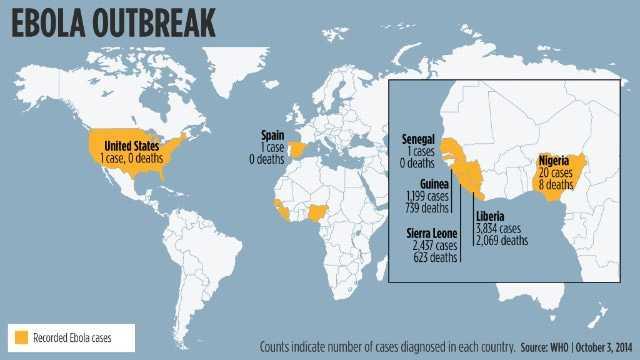 Ebola Weltkarte WHO