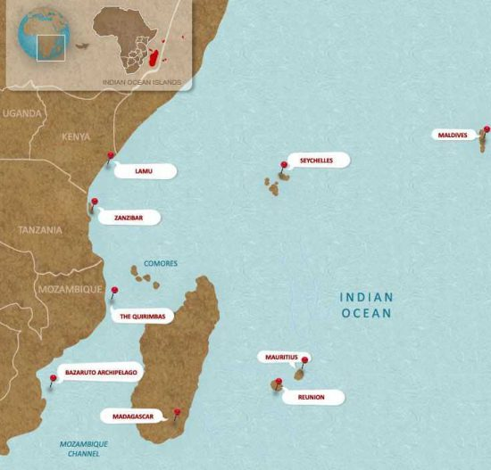 Orientation map of the Indian Ocean Islands
