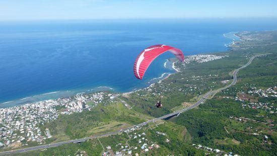 Paragliding over Reunion Island