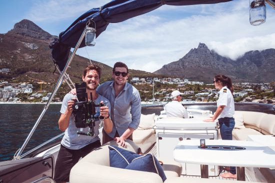 Video team on boat in Cape Town
