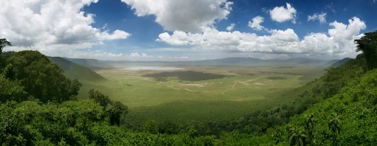 Panoramic view of the Ngorongoro Crater in Tanzania