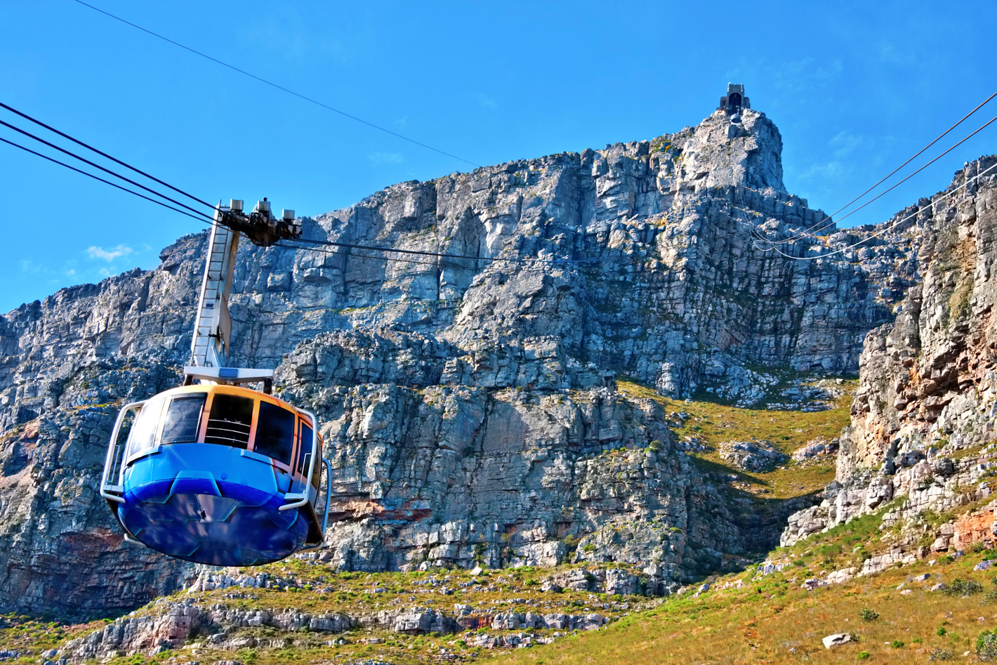 Cable car with table mountain in background