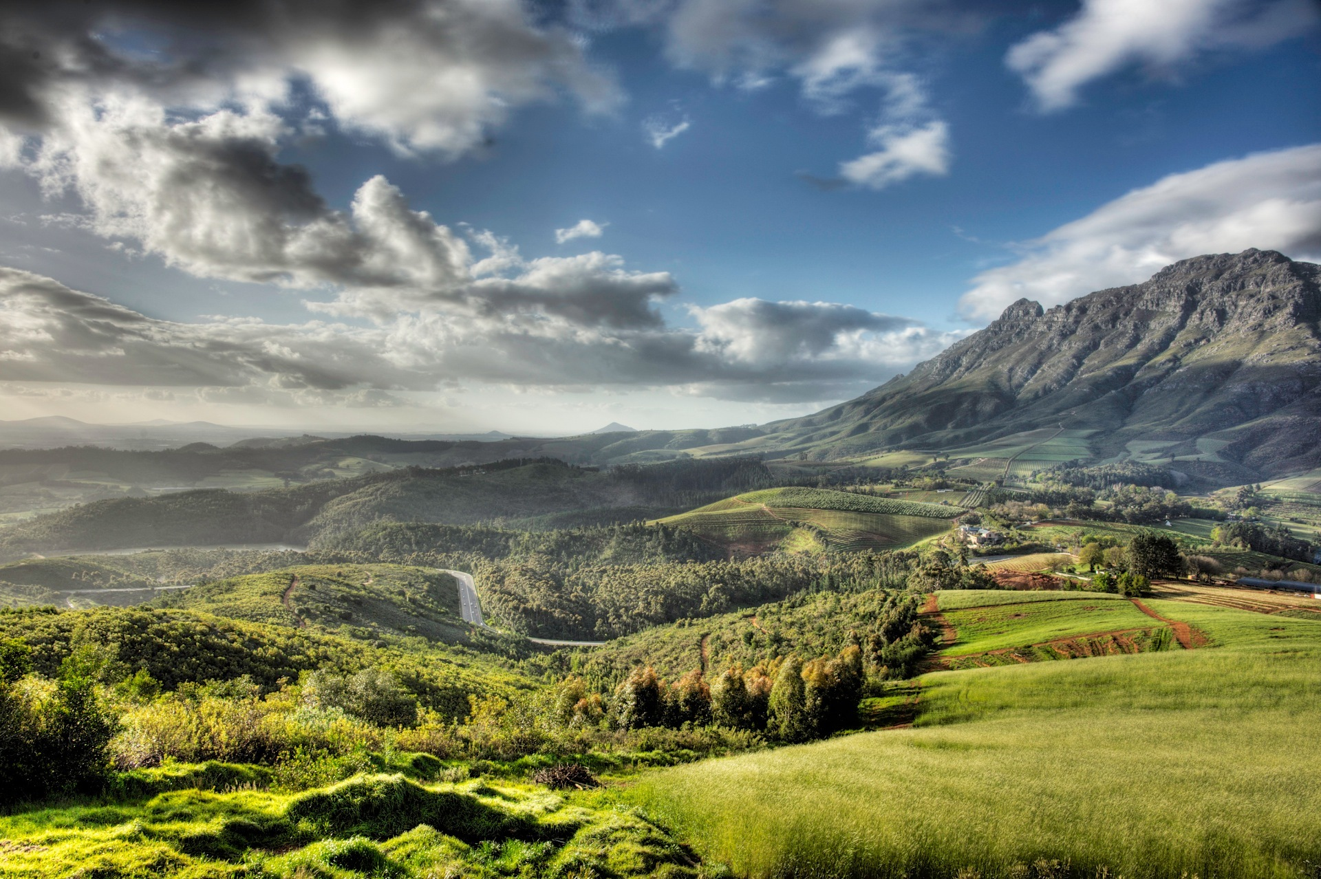 View of Stellenbosch wine region and Simonsberg Mountain