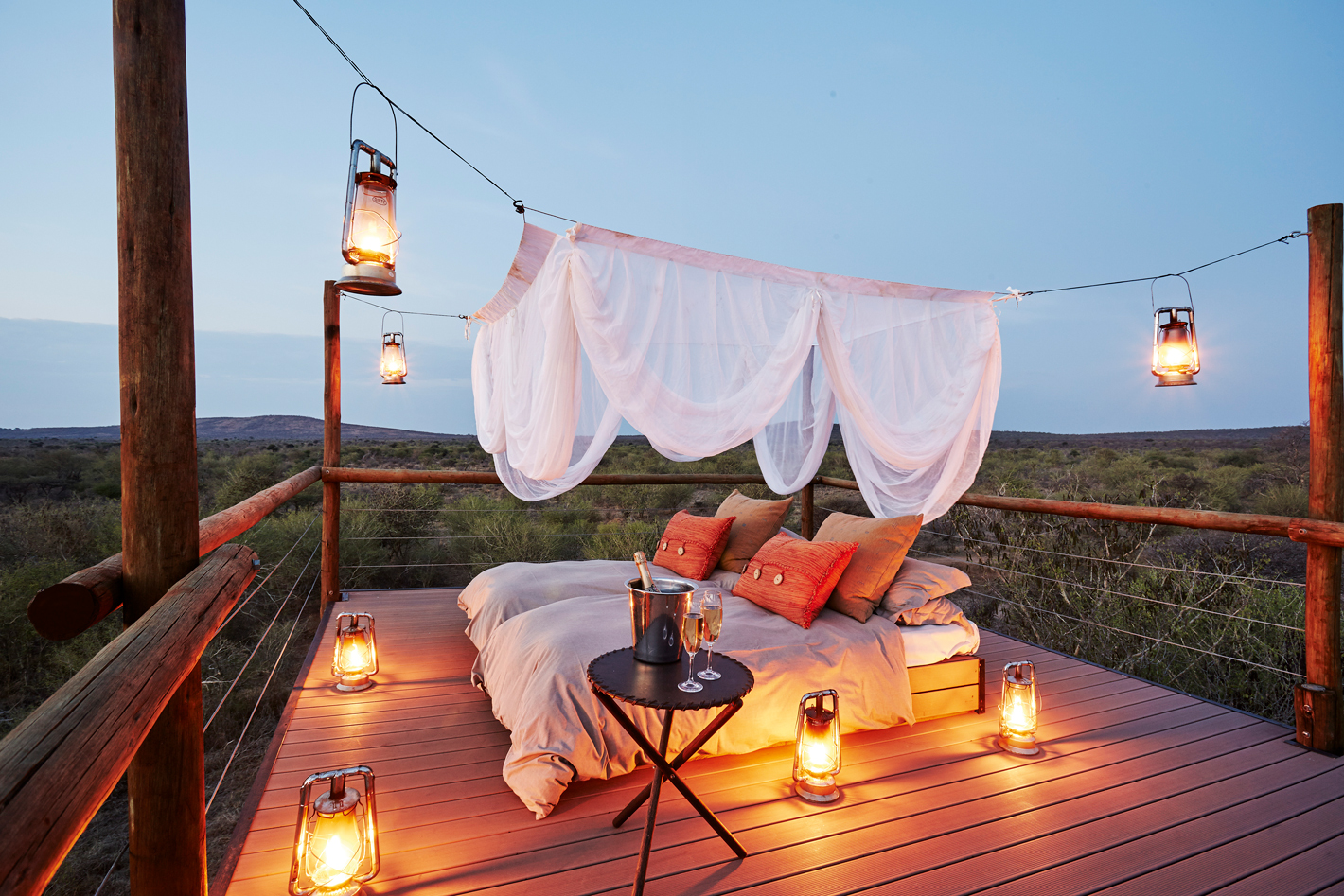 Sleep out deck with lanterns in Africa