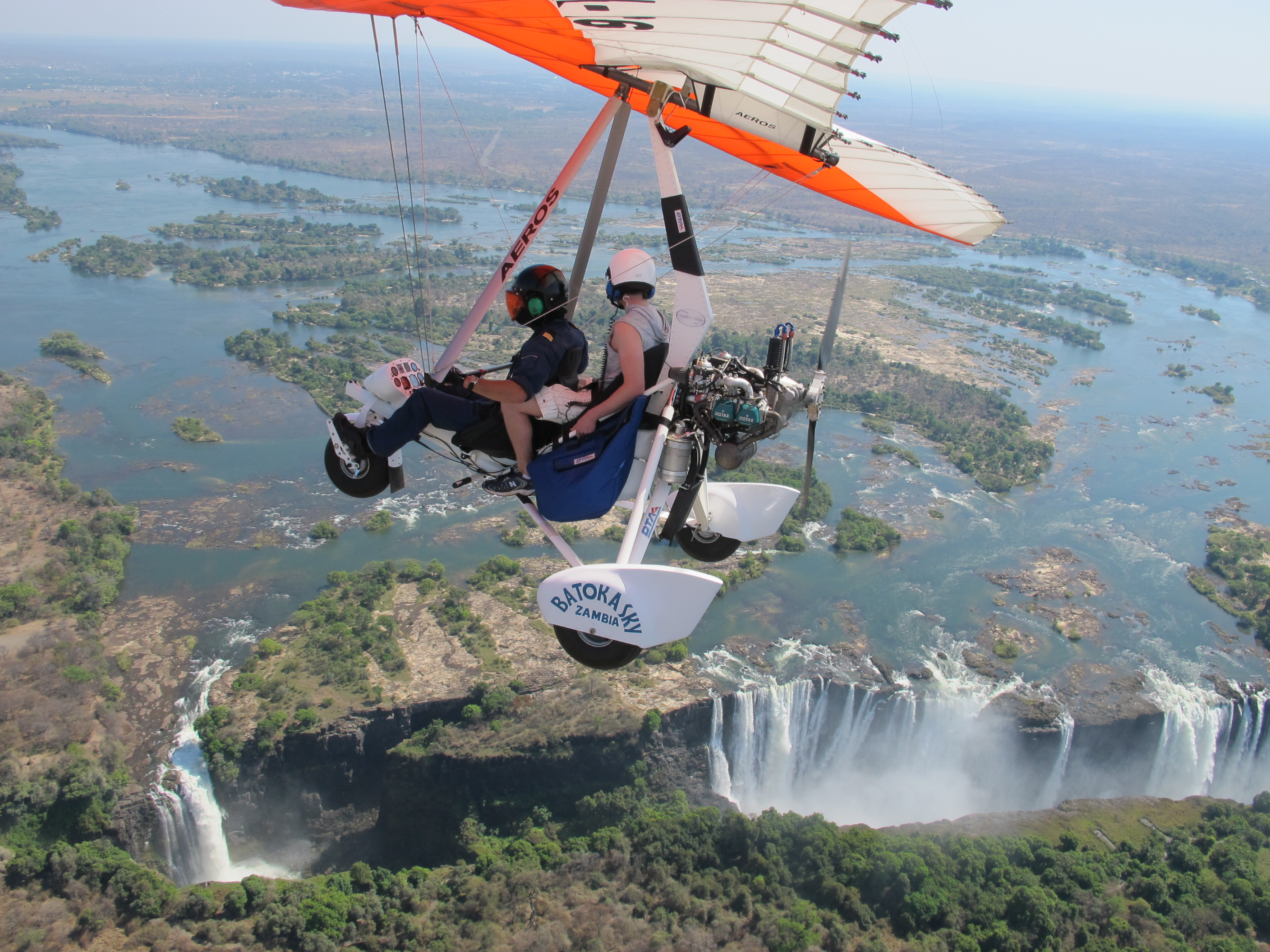 Microlight flight above Victoria Falls