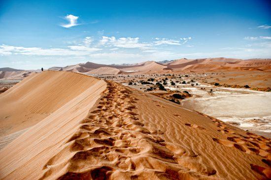 Footprints in Namibian dunes