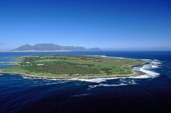 Robben Island aerial view with Table Mountain