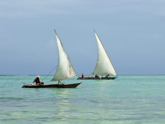 Dhows sailing on the clear waters of Zanzibar