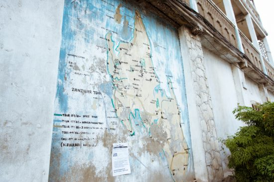 A wall map of Zanzibar