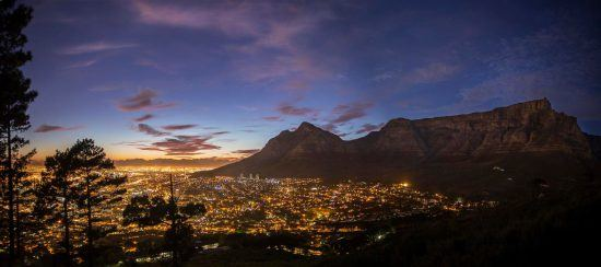 Sunset brings out the city lights of Cape Town