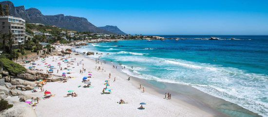 The sunny Clifton Beach in Cape Town