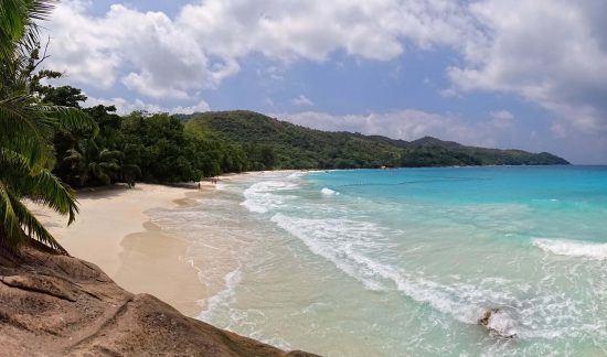 The calm scene of Anse Lazio Beach in Seychelles