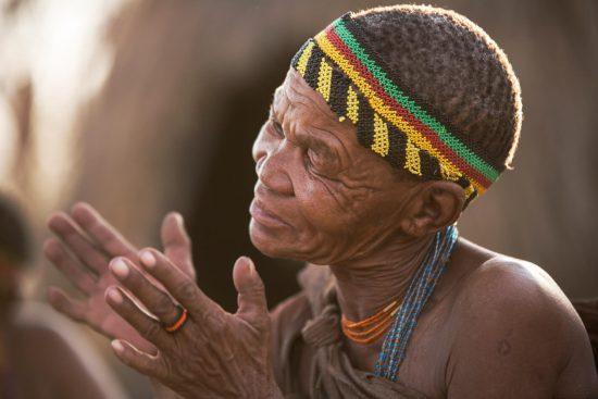 Colourful beads adorn bushmen