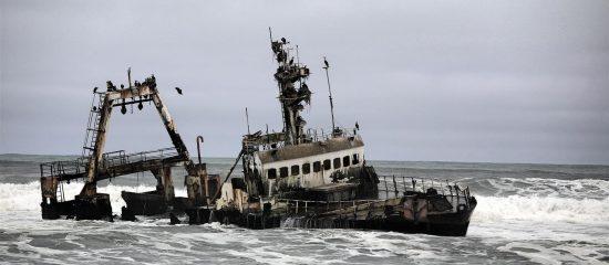 Shipwreck on the Skeleton Coast of Namibia