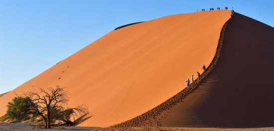 Walking on the dunes in Sossusvlei