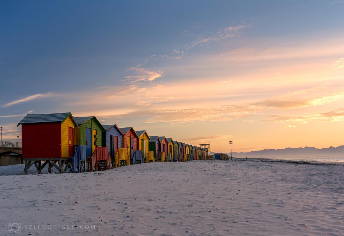 Sunrise on Muizenberg beach huts