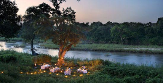 Riverside dining at Lion Sands