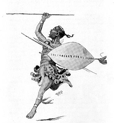 A drawing of a Zulu Warrior, Shaka