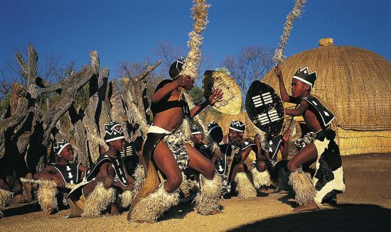 A traditional Zulu dance and attire
