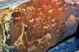 Carvings made by Bushmen in Namibia