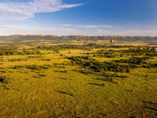 Hot air balloon ride over the African savannah