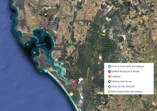 Carte du lagon de Langebaan et ses activités